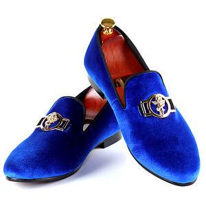 0b446450fe0 Harpelunde Sword Buckle Men Dress Shoes Blue Velvet Loafer Slippers ...