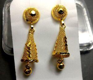 Women-Dangler-Cone-Wedding-Gold-plated-girls-Teen-Indian-Jhumka-Jhumki-Earrings