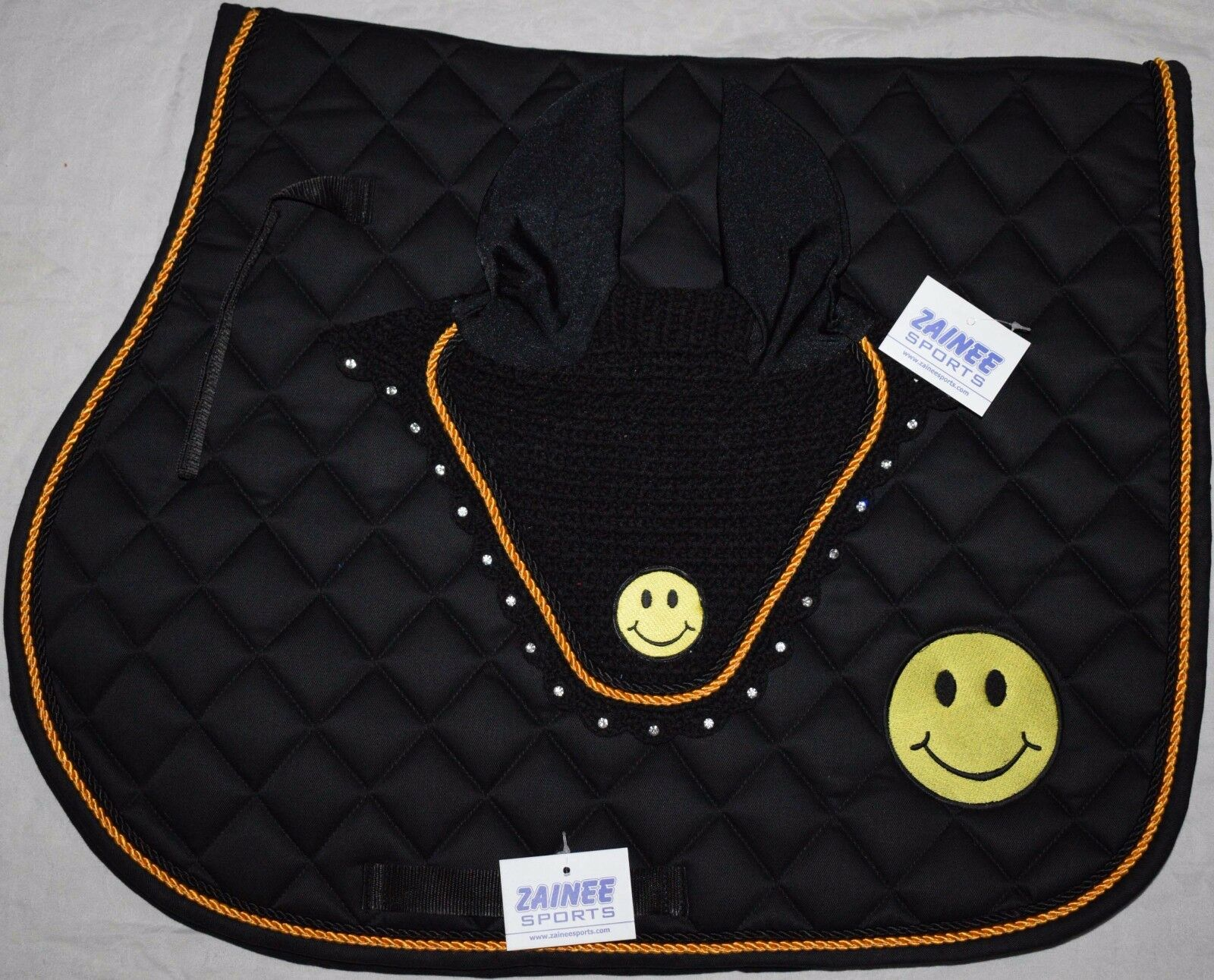 SMILEY SADDLE CLOTH SET FLY VEIL HORSE BONNET DIAMANTE EQUESTRIAN Free Shipping