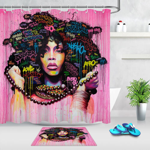 African Black Women Shower Curtain Sets Afro-American Girl for Bathroom Decor