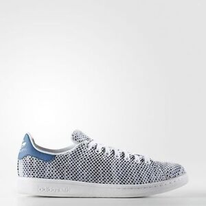Women Adidas S82251 Stan smith Running shoes white blue sneakers 4857c569b