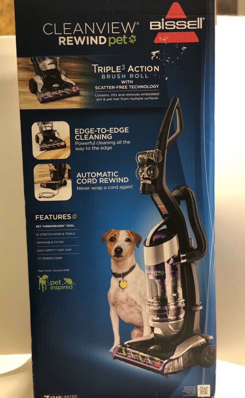 BISSELL Cleanview Swivel Rewind Pet Power Cord Vacuum Cleaner Purple 1820 New