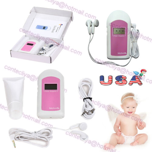 US CE/&FDA,Prenatal Fetal Doppler Listen Baby Heart beat Monitor LCD,GEL,earphone