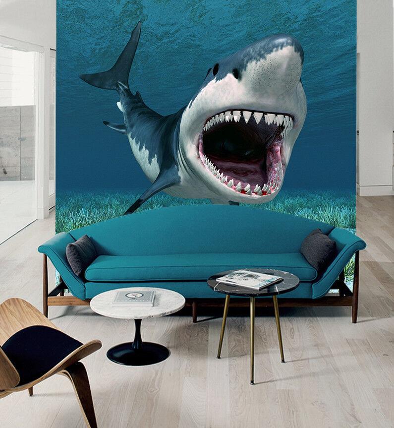 3D Shark Bule 448 Wallpaper Murals Wall Print Wallpaper Mural AJ WALL AU Kyra