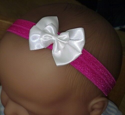 BABY GIRL REBORN DOLL DOUBLE BOW HEADBAND MANY COLOURS 0-24 MONTHS