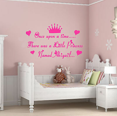Personalised Once Upon A Time Quote, Vinyl,Wall Art, Girls Bedroom Sticker