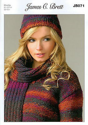 James C Brett Marble Chunky JB071 Knitting Pattern Ladies Sweater Hat and Scarf