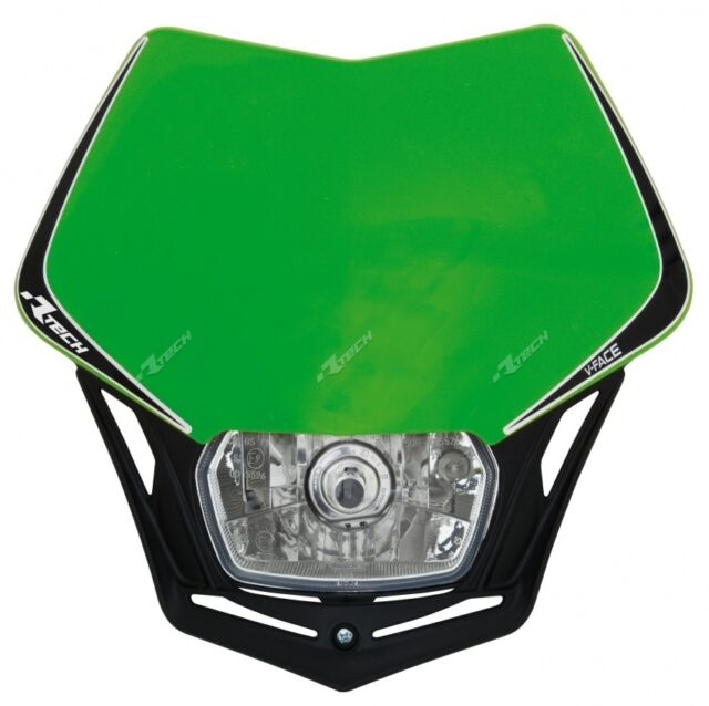 Racetech V-Face universal dirt bike headlight strap-mounted green MASKVENR008