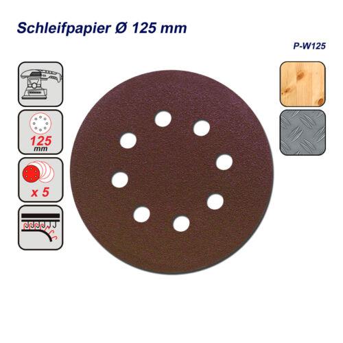 Lack und Farbe DWT 5 x Schleifscheiben Schleifpapier Ø 125 mm für Metall Holz