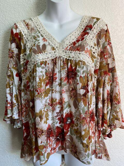Women Umgee Bohemian Chic Vintage look Floral Boho Peasant Blouse Shirt Sz S