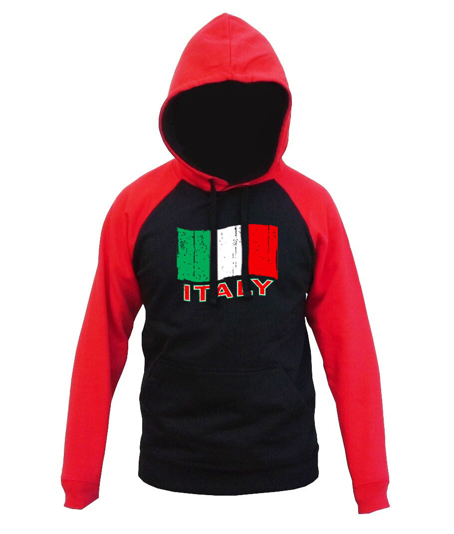 Men's Grunge  Flag Red Raglan Hoodie Italian Pride Italia Soccer Italiana