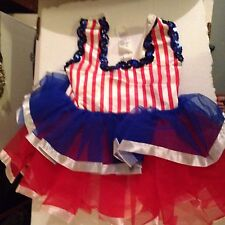 NWOT  Baby Toddler Dress Leotard Fourth Of July Red White Blue Outfit Made USA