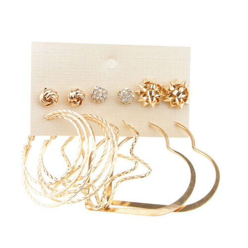 6 Pair Assorted Knot Ball Crystal Disc Ball Stud Loop Dangle Earring Sets