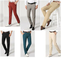 New Fashion Men Straight Slim Fit Chinos Pants Casual Formal Long Pants Trousers