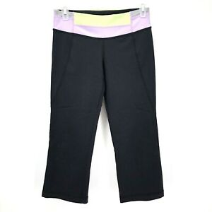 3502395ec Image is loading Lululemon-Black-Crop-Capri-Yoga-Legging-Pant-Size-