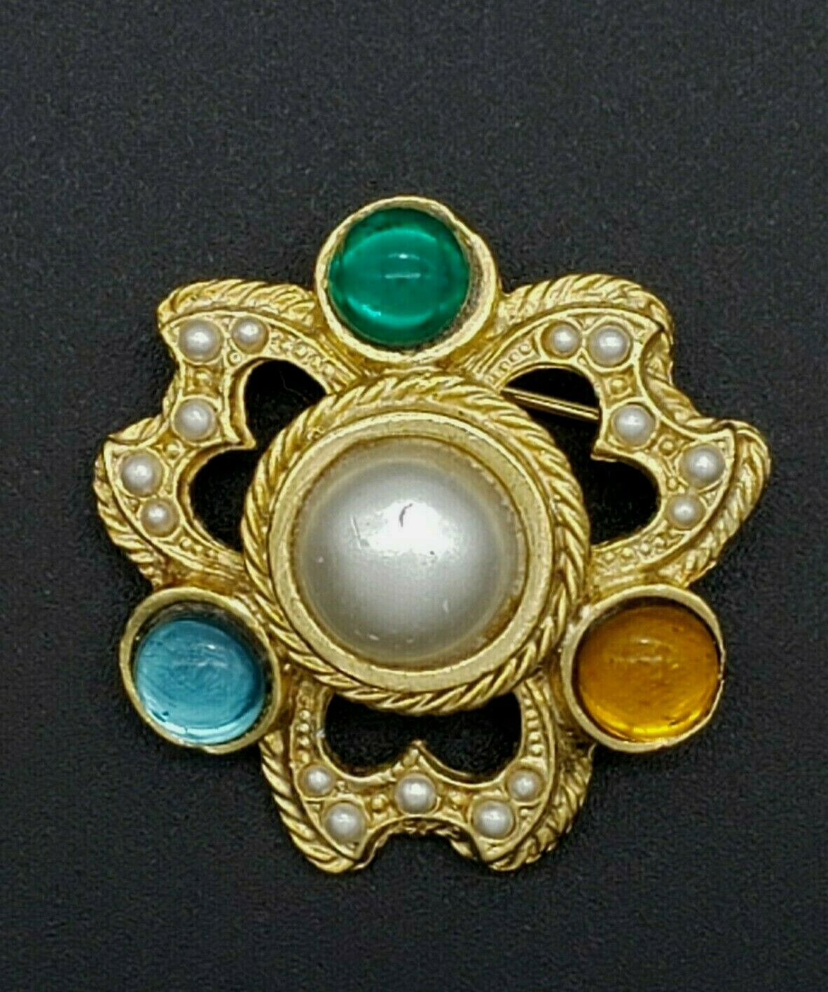Vintage Rhinestone Faux Pearl Cabochon Brooch Pin… - image 3