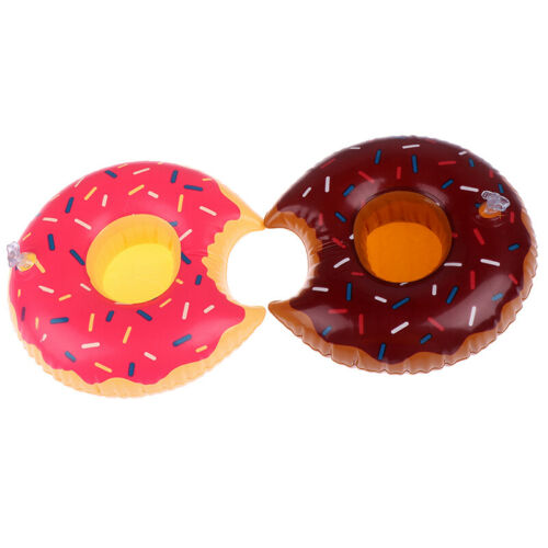 1 Pcs Inflatable Floating Donut Drink Cup Holder for Pool Swim Ring Water TJ Hs