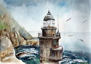 Old-Lighthouse-original-watercolor-landscape-painting-ocean-sea-ship-sail-boat