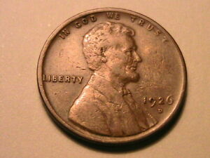 1926-D Choice VF Very Fine Brown Lincoln Wheat US One Small Cent 1 Penny Coin