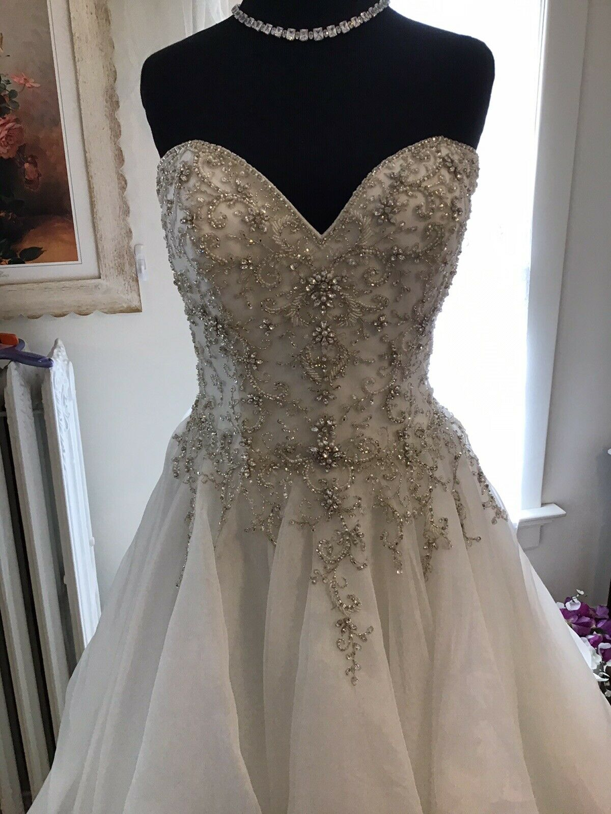 Ball gown Ivory 14 fully beaded bodice