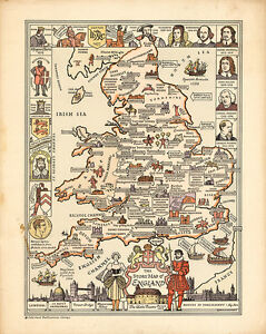 The Story Map of England 1936 75cm x 59.8cm High Quality Art Print