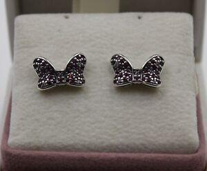 haut de gamme authentique de style élégant doux et léger Détails sur Authentic Pandora Disney Minnie's mousseux Bow Boucles  d'oreille, 290578CZR #1446- afficher le titre d'origine