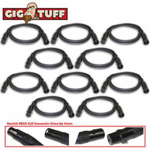 10-pack Gig Tuff 5 Ft (environ 1.52 M) Tour Pro Microphone Câble Neutrik Rean Xlr Awg20 Ofc 6.5 Mm-afficher Le Titre D'origine