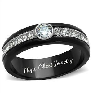 7 HCJ SILVER STAINLESS STEEL 2 CT ROUND CUT AAA CZ ENGAGEMENT RING SZ 6