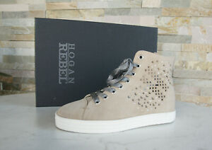 Hogan Rebel 35 High Top Wedge Sneakers Lace Up Shoes Sand New ...