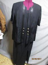 Women's Perceptions  Irene B. plus size 18 black dress suit w/satin trim jacket