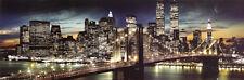 New York City - Manhattan Night Poster Print, 36x12