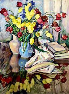 painting-art-Zhuravleva-socialist-realism-vintage-still-life-old-tulip-books