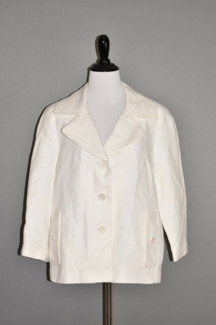 TALBOTS NEW $169 White Linen Blazer Jacket The Jackie Fit Size 8