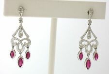 14k White Gold Petite Marquise Ruby Diamond Dangle Milgrain Chandelier Earrings