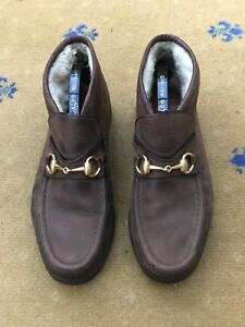 4a1f969c7 Image is loading Gucci-Mens-Shoes-Brown-Horsebit-Loafers-Boots-UK-