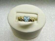10K YELLOW GOLD BLUE TOPAZ HEART RING WITH Xs and HEARTS SIZE 7 1/4 G31-S