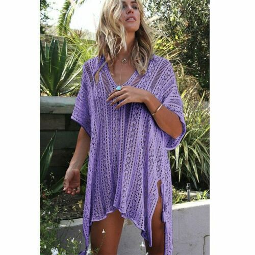Bikini Cover Up See-through Beach Dress Crochet Knitted Tassel Beachwear Summer