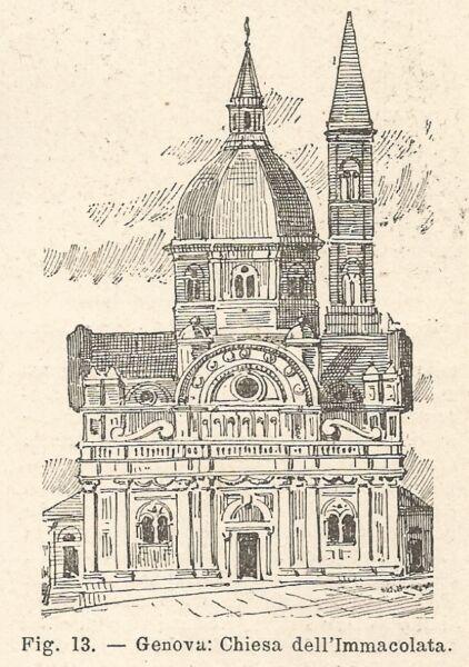 100% Vero B2114 Genova - Chiesa Dell'immacolata - Incisione Antica Del 1927 - Engraving Firm In Structure