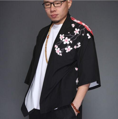 Les hommes japonais Yukata manteau kimono Outwear Vintage Rétro Casual Tops Noir 2018