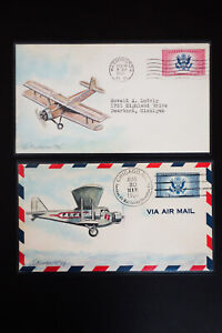 US-Stamps-2-First-Day-Covers-Hand-Painted-and-Signed-by-Artist