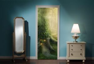Door-Mural-Fantasy-Tree-House-Forest-View-Wall-Stickers-Decal-Wallpaper-326