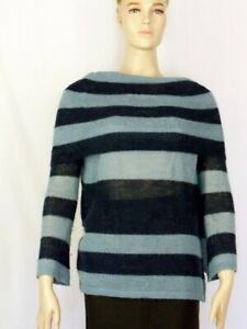 Sz-S-FREE-PEOPLE-Sweater-Alpaca-Blend-Sky-Blue-Navy-Fold-Over-Cowl-Neck-Oversize