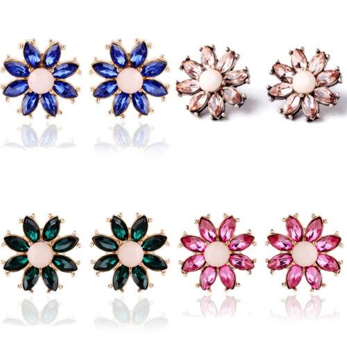 Vintage Femmes Strass Fleur Ear Stud élégant Boucle d/'oreille Fashion Jewelry
