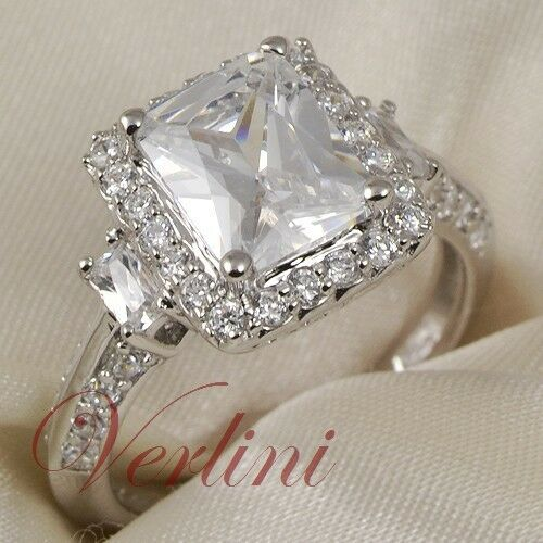 3.75 Ct Emerald Cut Silver Women's Ring Simulated Diamonds Jewelry Size 5-10