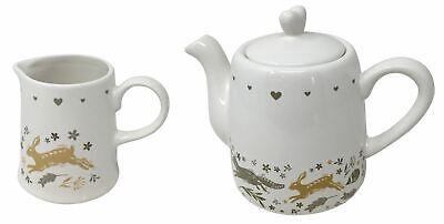 3 Pezzi Woodland Animali Coniglio Volpe Cuori In Ceramica 2 X Latte Brocca & 1 X Teiera-