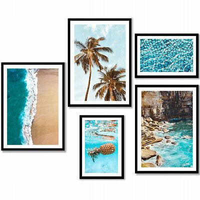 XXLset 5er mit Rahmen TROPICALS Bilder Wandgalerie Modern Druck PLAKAT 99x110 cm