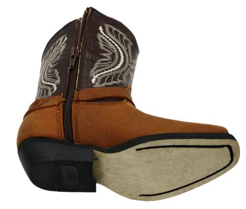 Kids Genuine Leather Western Cowboy Zipper Closure Boots Style Kids 638