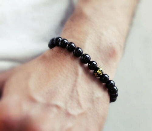 Tibetan 24 8mm Black Agate Gold Plating Mantra OM Mani Beaded Bracelet