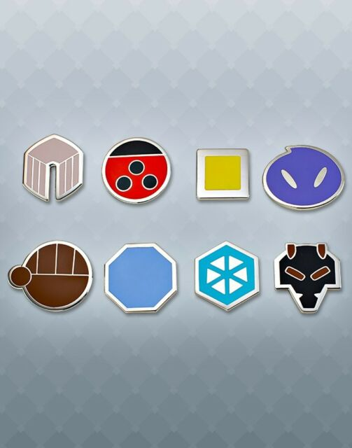 Pokemon League Johto Gym Badges// Pins *Lot of 8 *HTF* Year 2001 WOTC Yellow