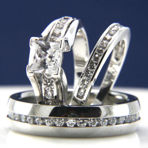 Diamond Cut Diamonique Engagement Wedding Sterling Silver /& Steel Ring Set